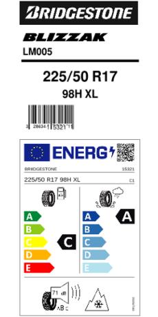 Bridgestone 225/50 R17 98H Blizzak LM-005 XL FSL M+S  C A 71 W2255017