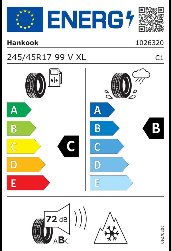Hankook 245/45 R 17 V 99 i*cept evo3 W330 XL  C B 72 W2454517